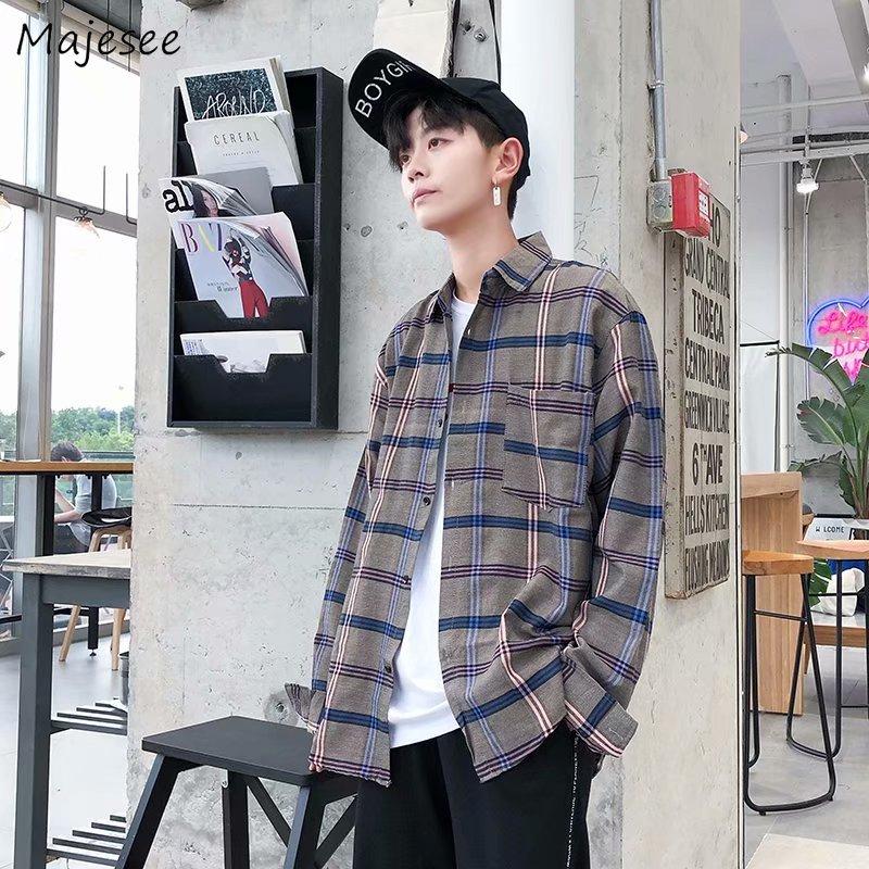 Shirts Men Turn-down Collar Plaid Simple All-match Loose Pockets Leisure Trendy Shirt Mens Ulzzang Korean Style Clothing Chic 3