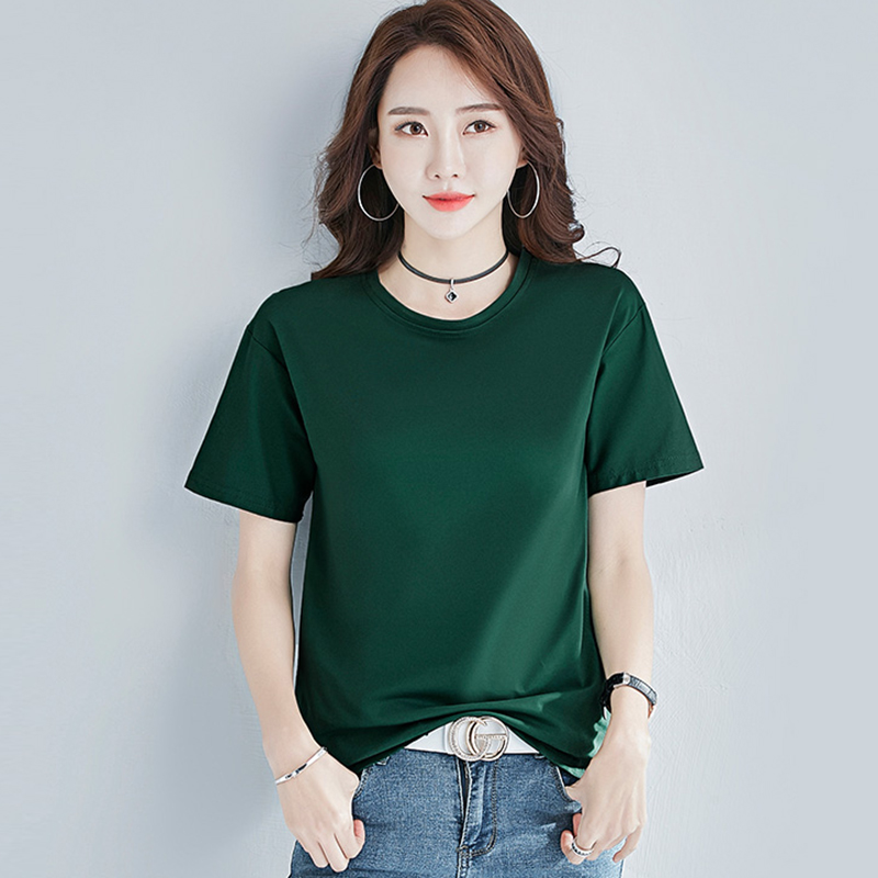White Tshirt Women Clothes Cotton Summer Tops Female T shirt Top Short Sleeve Black korean Tee Shirt Femme New 2019 Yellow Beige in T Shirts from Women 39 s Clothing