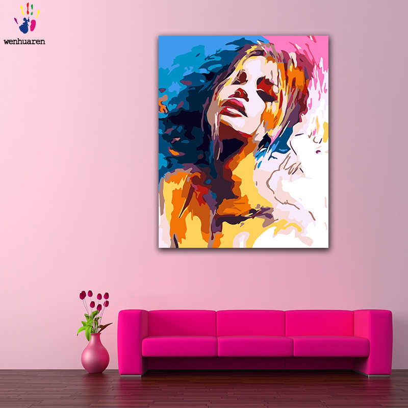 DIY colorings pictures by numbers with colors Colorful freehand sexy beauty picture drawing painting by numbers framed Home