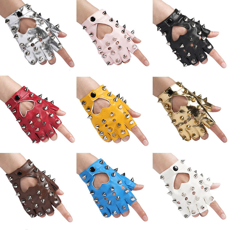 Plastic Nail Rivet Personality Leather Gloves Woman Dancing Show Children Peach Hollow Half Finger Tactical Gloves Free Shipping