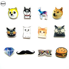 1 PCS Cartoon Animals Acrylic Pins Icons Badges on Backpack Stripe Decoration Dogs Brooch Cats Badges for Clothes @Y