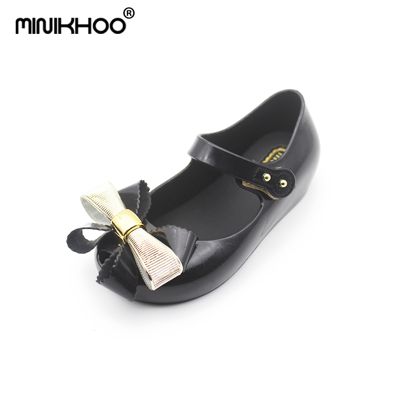 Mini Melissa Bowtie Girls Jelly Bow Sandals 2018 New Melissa Sandals Toddler Beach Shoes 15-18cm Non-slip Baby Sandals 3 Color