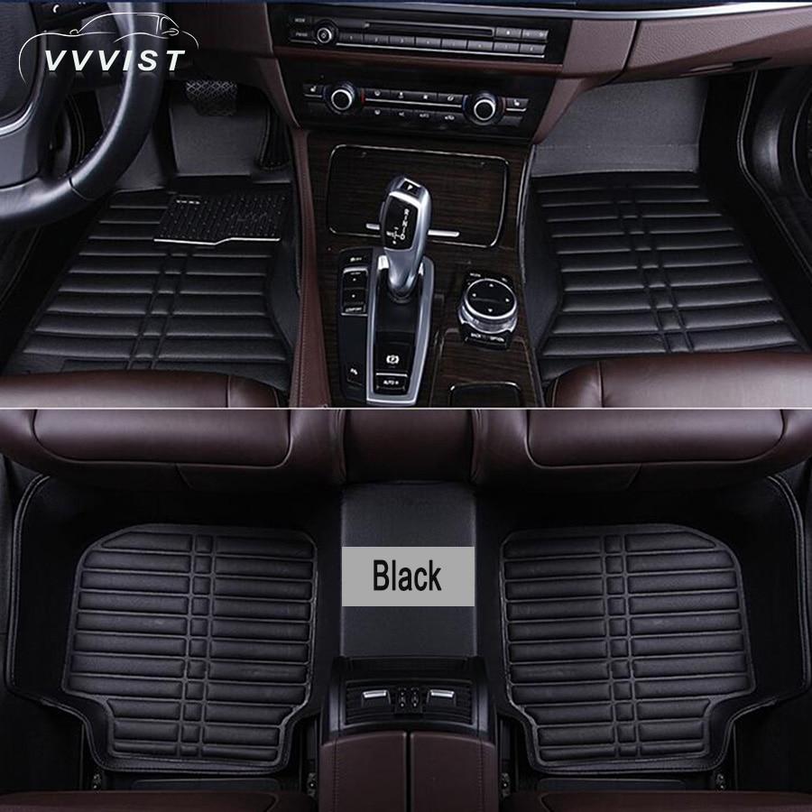 2018 VVVIST Universal Car Floor Mat Pu Leather Front Rear Waterproof Anti-dirty Floor Mat Auto Accessories Car Styling Floor Mat customs 5 seats 1 set car floor mat leather waterproof front