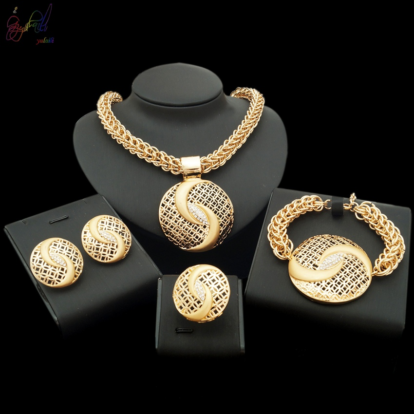 YULAILI Free Shipping Fashion Steel Chain Zinc Alloy Gold Color Ladies Costume 4-pc Jewelry SetYULAILI Free Shipping Fashion Steel Chain Zinc Alloy Gold Color Ladies Costume 4-pc Jewelry Set