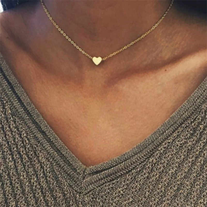 2018 ใหม่ผู้หญิง choker gold silver star ห่วงโซ่หัวใจหัวใจ choker สร้อยคอ kolye bijoux collares mujer Collier femme A49
