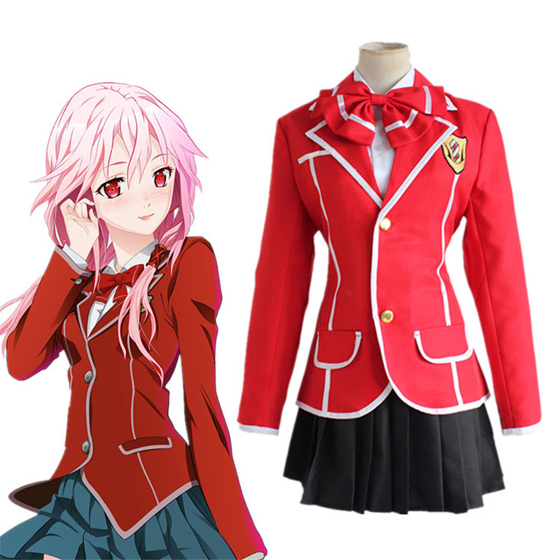 Guilty Crown Unisex Tsukishima Yuzuriha Inori Ouma shu Cosplay Costume school dress uniforms suit(Jacket+skirt+tie) women