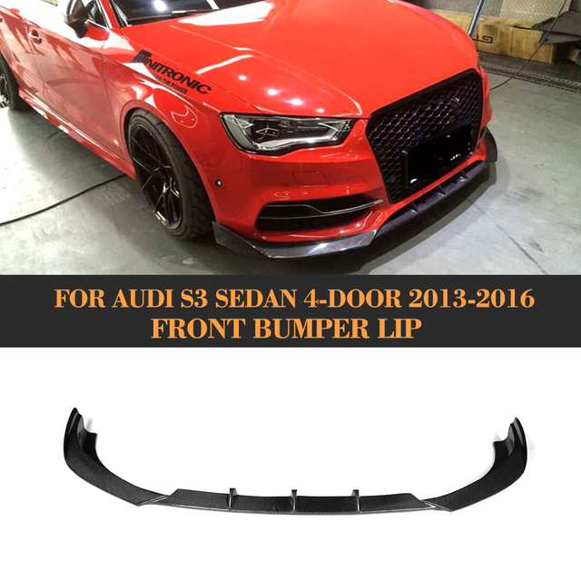 carbon fiber front bumper spoiler lip for audi a3 sline s3. Black Bedroom Furniture Sets. Home Design Ideas