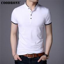 COODRONY Cotton Short Sleeve T Shirt Men Clothes 2019 Summer Business Casual Mandarin Collar T-Shirt Men All-Match Tshirt S95092 casual drawstring mandarin collar t shirt