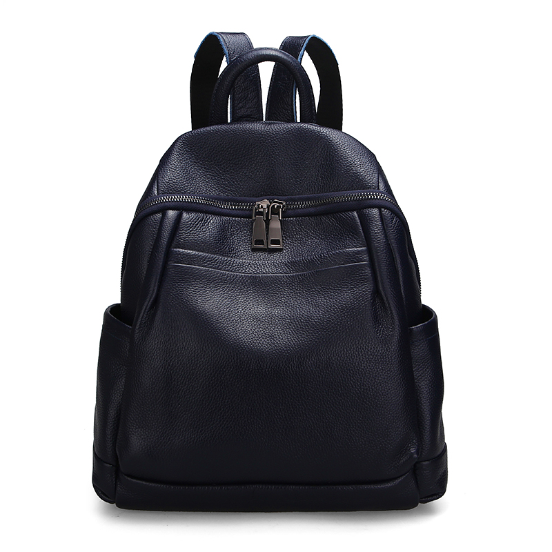 2018 Fashion Genuine Leather Women's Backpack First Layer Cow Leather Ladies' Backpacks Ladies Girl School Shopping ipad Bag
