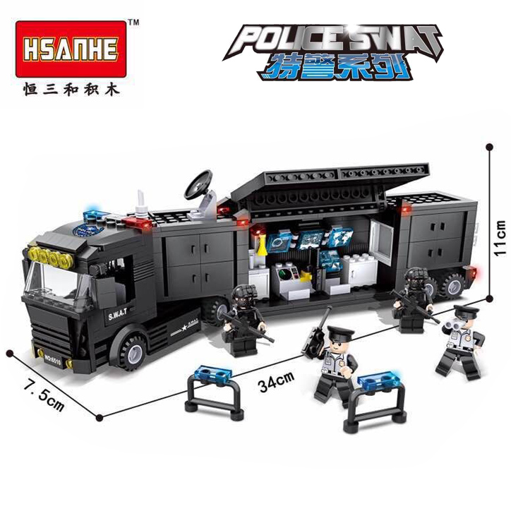 HSANHE Police SWAT Series Military City Armored Truck Command Vehicle Building Block Bricks Toys compatiable with gift 1712 city swat series military fighter policeman building bricks compatible lepin city toys for children