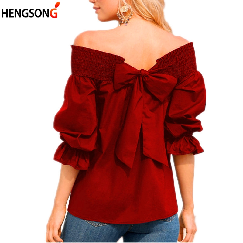 Elegant Ladies Blouse Shirt Casual Loose White Shirt With Bow Female Chiffon Blouses Half Sleeve Slash Neck Party Shirt Cute