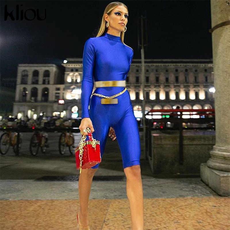 a3086c9afc99 ... Kliou women fashion Royal blue full sleeve turtleneck playsuits 2018  autumn female skinny sexy workout street ...