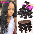 7A Peruvian Virgin Hair Body Wave Lace Frontal Closure With Bundles Pre Plucked Frontal Body Wave 4 Bundles With Frontal Closure