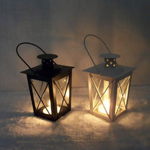 Small Iron Lantern Metal Wedding Candle Holders White Metal Outdoor Candle Lantern Elegant Modern Gifts Creative Candlestick ZT5