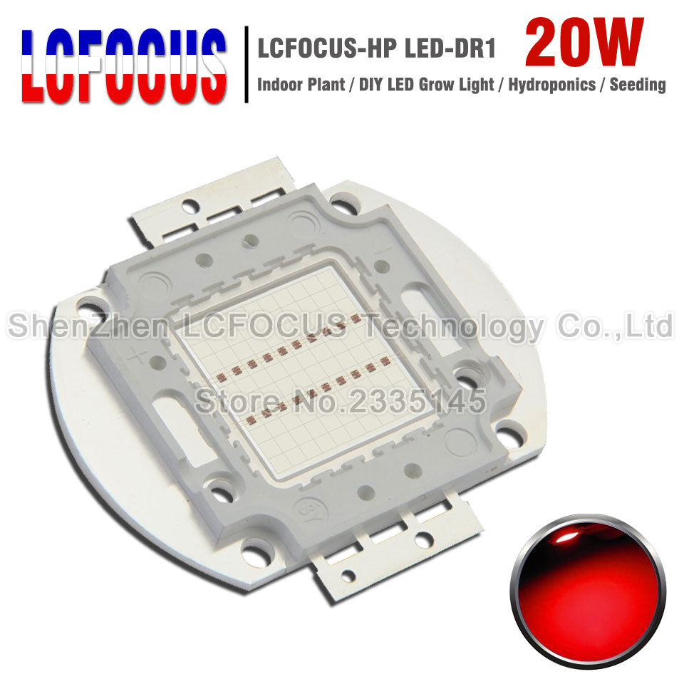High Power LED Chip 20W Deep Red 660m 630nm COB SMD Diode DIY 20W 40W 60W 80W 100W Grow Light For Greenhouse Plant Growing