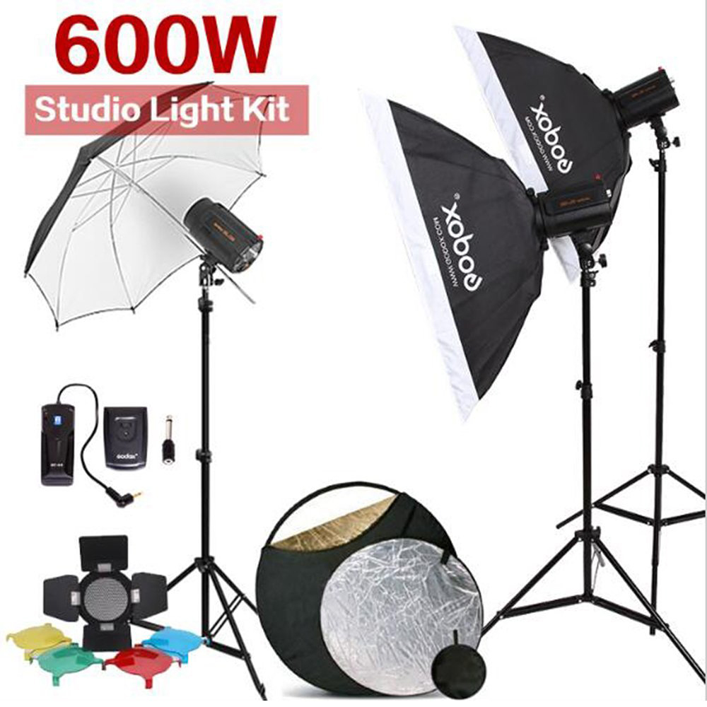 600W GODOX 3x 200W 200DI Compact Flash Strobe Studio Lighting Head Kit For DSLR godox es 600p 600w gn68 xenergizer wireless portable flash studio light lighting kit