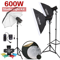 600W GODOX 3x 200W 200DI Compact Flash Strobe Studio Lighting Head Kit For DSLR