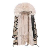 Long real fox fur parka natural raccoon fur collar hood women fur parkas