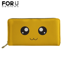FORUDESIGNS Lovely Smile Printing Long PU Leather Wallets for Woman Funny Emoji Luxury Purses Girls Money Coin Bag Card Holders