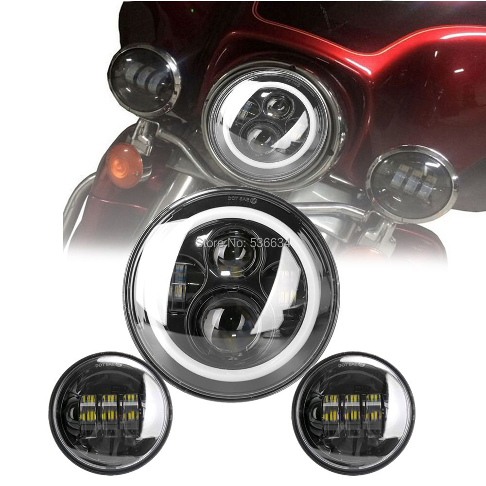 7inch LED Round Projector Headlight With White Hole/Amber Matching 4.5inch LED Passing Lamps For Harley Davidson Softail Deluxe