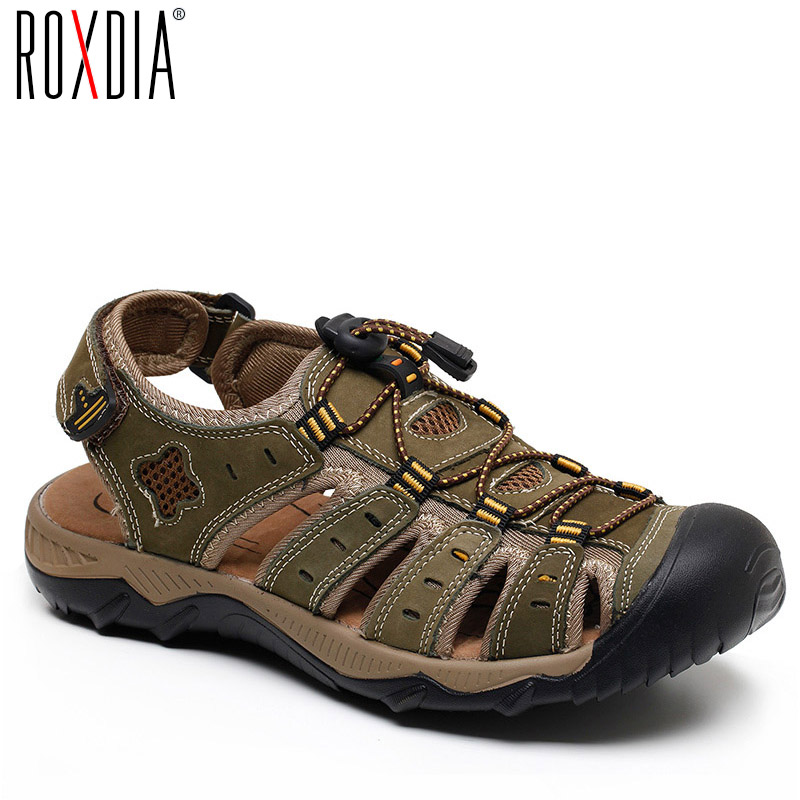 ROXDIA Men Sandals Causal-Shoes Breathable Plus-Size Genuine-Leather Beach Summer New-Fashion