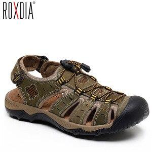 Image 1 - ROXDIA חדש אופנה קיץ חוף לנשימה גברים סנדלי עור אמיתי גברים של סנדל איש סיבתי נעליים בתוספת גודל 39 48 RXM007