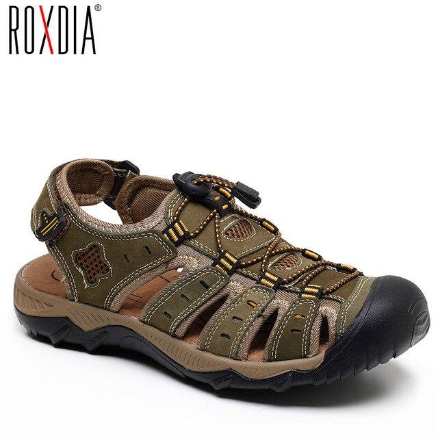 ROXDIA חדש אופנה קיץ חוף לנשימה גברים סנדלי עור אמיתי גברים של סנדל איש סיבתי נעליים בתוספת גודל 39 48 RXM007