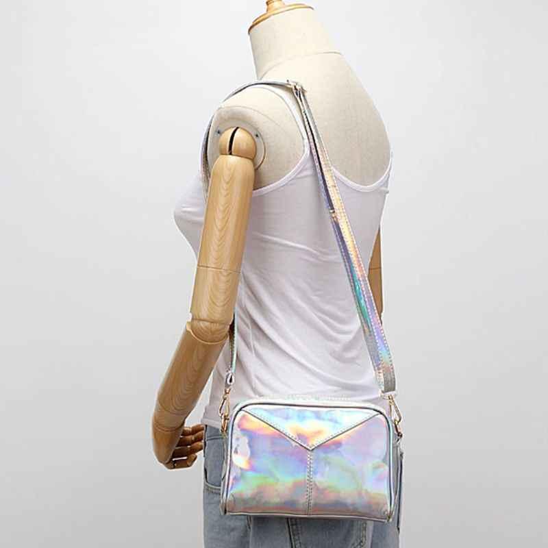 Женские сумки через плечо кожаные голографические вечерние сумки мессенджер Хобо Сумка через плечо