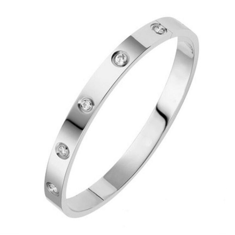 Trendy Brand Women Bracelets & Bangles Open Cuff Design Stainless Steel Crystal Bracelets Luxury Gold Jewelry for Wedding 17CM