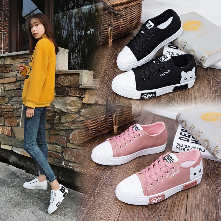 aad0504a8c2 Detail Feedback Questions about Cartoon Women Canvas Shoes Fashion Women  Vulcanize Shoes 2019 Spring female Shoes Lace Up Casual Board Shoes Women  Sneakers ...