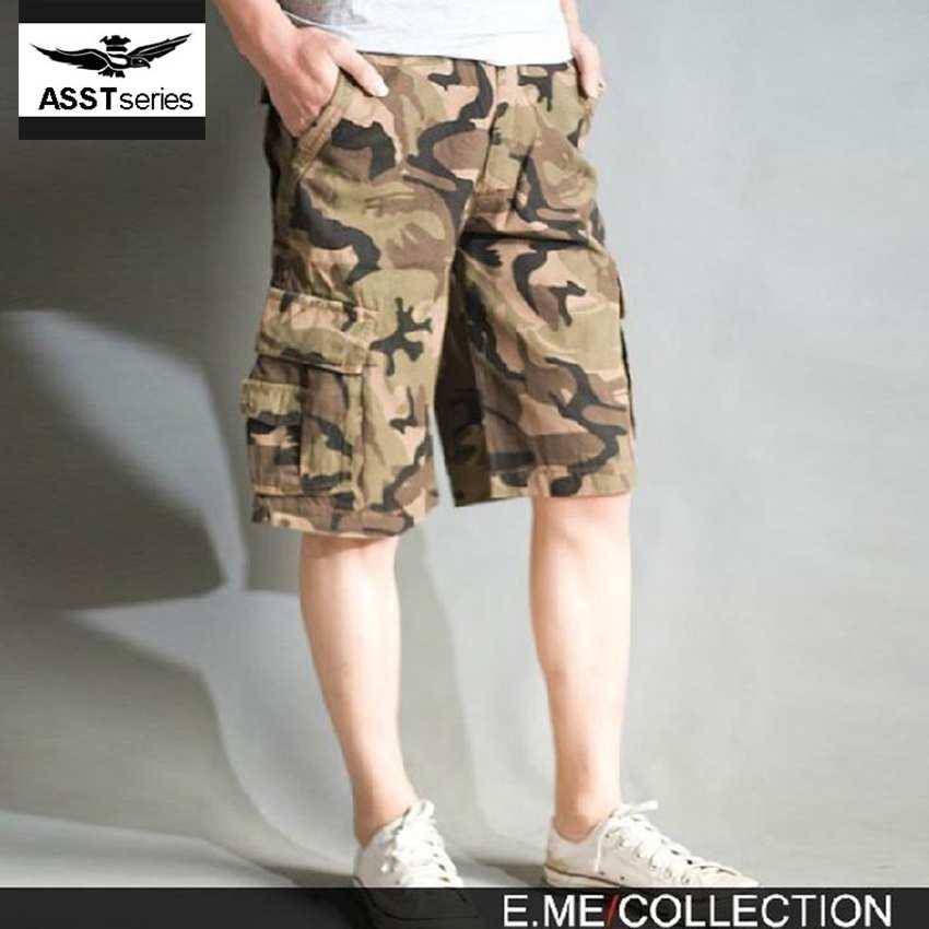 ac6f72eb29 Hombres lycra pantalones cortos de camuflaje suelta top brand hombres shorts  con bolsillos cortos sudor basculador camo militar masculina junta de  poliamida ...