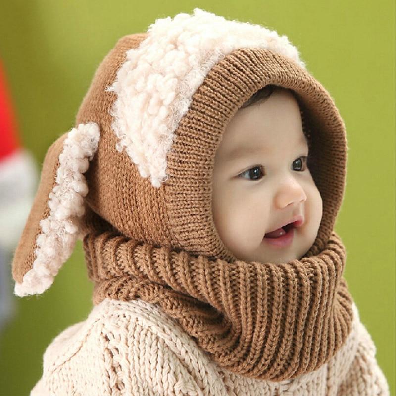 Kış şapka çocuk kız erkek bebek tavşan kulaklar örme şapka çocuk tığ sıcak bebek kapaklar kapşonlu eşarp seti