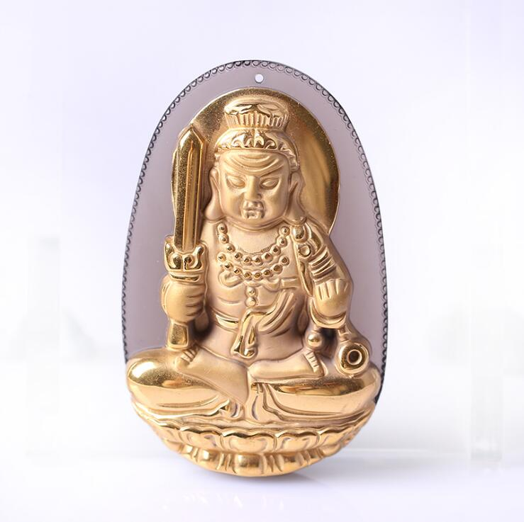 Natural Ice Clear Obsidian Carved Gold Color Chinese BUDongMingWang Buddha GuanYin Lucky Pendant +free Necklace fashion Jewelry pretty handwork natural light green grade a jadeite buddha guanyin lucky amulet pendant free necklace certificate fine jewelry