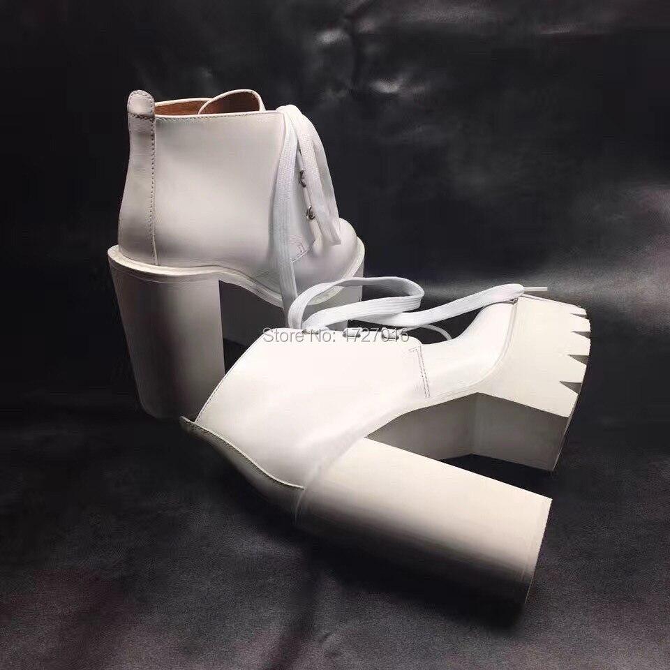 69d2979634b Genuino Otoño Negro Cuero Zapatillas Botas Calzado Blancas Femeninas Vestir De  Mujer blanco Tobillo Zapatos Plataforma XITZw