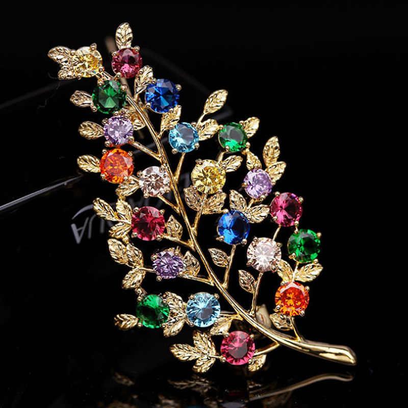 Zlxgirl Tinggi Logam Tembaga Warna-warni Daun Bentuk Bros Pengantin Zirkon Perhiasan untuk Wanita Mewah Bros Pin Pria Perhiasan Pengantin