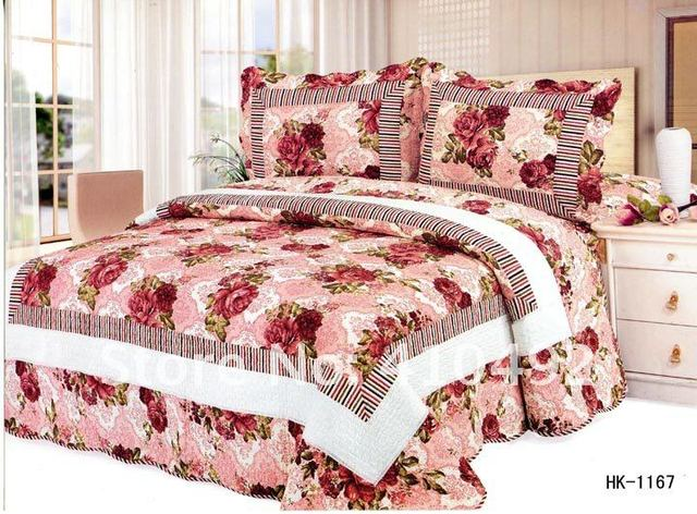 1167# peony/4 pcs bedding sets/sheet/bedsheet/Exclusive design/Manufacturers selling/lowest/patchwork