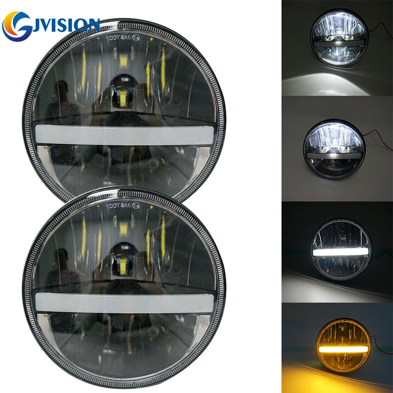 2PCS 7 Inch Round LED Headlight DRL High/Low Beam turn signal for Jeep Wrangler JK CJ TJ Hummer H1 H2 LED Projector lamps 2pcs for jeep wrangler jk tj cj patrol gr y60 hummer h2 7 round led headlight with white drl amber signal light for uaz hunter