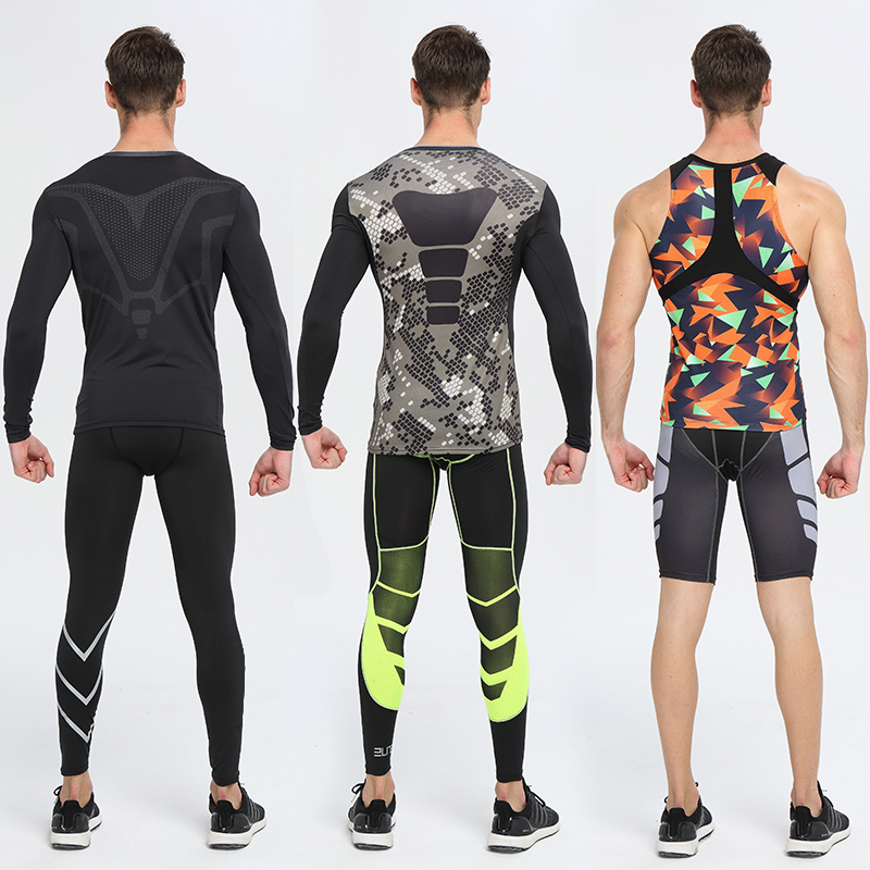 New Men Compression MMA Rashguard Fitness Long Sleeves Shirts Base Layer Skin Tight Weight Lifting T Shirts Running Shorts blue lace up design chimney collar cold shoulder long sleeves t shirts