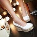 Mulheres sapatos de salto alto sapatos de plataforma do dedo do pé aberto cunhas sapatos brancos sy-1973