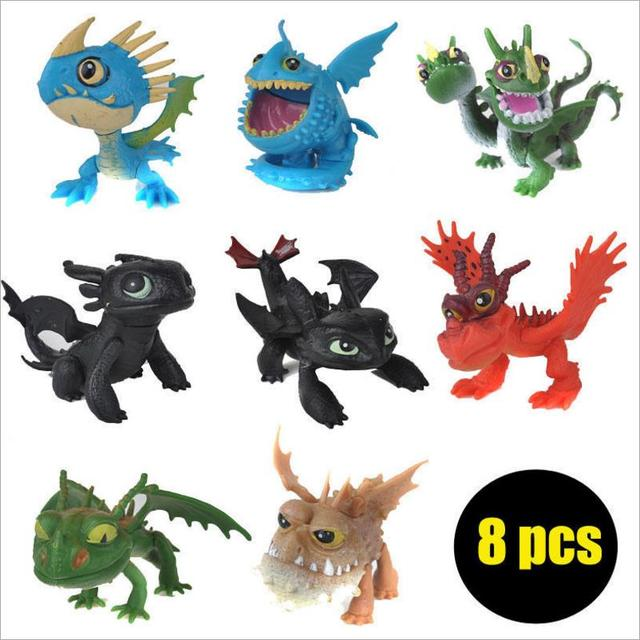 8 pcs Dragons Anime Como treinar O Seu Dragão Fúria Da Noite Desdentado 2 PVC Dragão Presente de Aniversário Dos Miúdos Brinquedos Juguetes