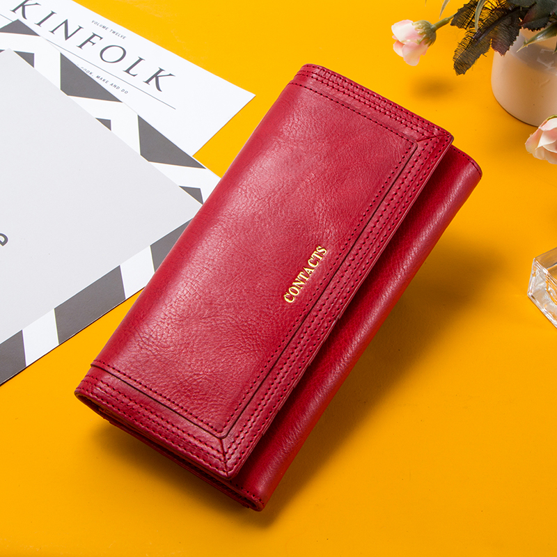 Contact's Fashion Women Long Clutch Wallet Big Capacity Coin Purse For Ladies Genuine Leather Phone Pocket Card Holder Carteras