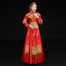 Vintage Red Embroidery Cheongsam Modern Chinese Traditional Wedding Dress Women Vestido Oriental Collars Elegent Long Qi Pao