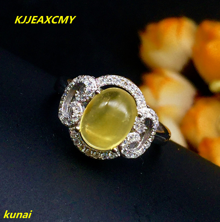 Bijoux KJJEAXCMY 925 argent incrusté de bijoux bague en ambre naturel.
