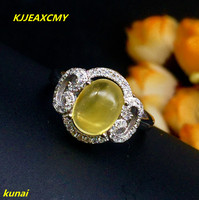 KJJEAXCMY fine jewelry 925 Silver inlaid with natural amber ring jewelry.