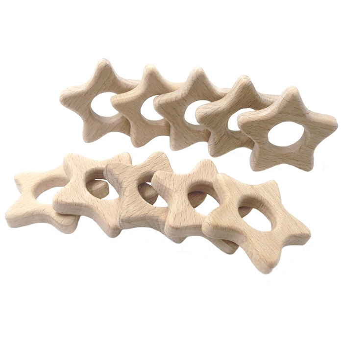 Wooden Stars Teethers Rings Natural Handmade Wooden Toys DIY Wood Personalized Pendent Eco-Friendly Safe Baby Teether Toys