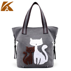KVKY Handbags Woman Tote-Bags Shopping-Shoulder-Bag Designer Famous Cute Canvas Top-Handle