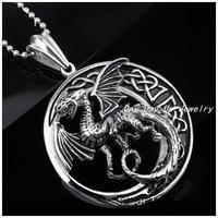 Neu Kommen Silber Edelstahl Gotik Schmuck Punk Drachen Totem Anhänger Halsketten Für Männer, Eine Modekette Für Freies