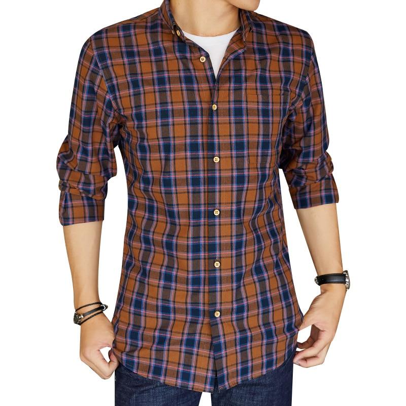 Humor Männer Standard-fit Langarm Plaid Überprüft Shirts Patch Links Tasche Abgerundeten Saum Getragen-in Komfort Baumwolle Casual-taste Top Hemd Hemden Hemden