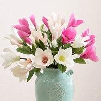 7 יח'\חבילה mangnolia משי פרחים מלאכותיים פרחים דקורטיביים פרחים מזויף מלאכת קישוט בית חדר קישוט חדר שינה