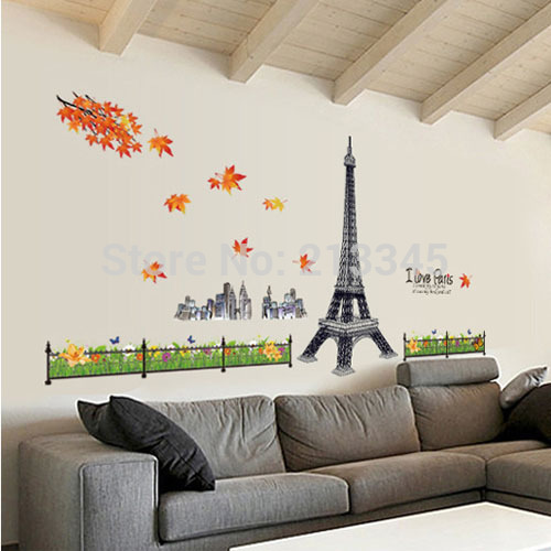 [Fundecor] removable Maple Autumn Eiffel Tower Wall hangings Living room office background decoration Wall Stickers